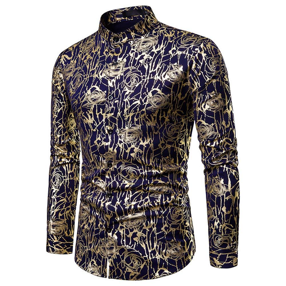 OUYAWEI Men Fashion Printing Large Size Casual Lapel Short Sleeves Shirt
