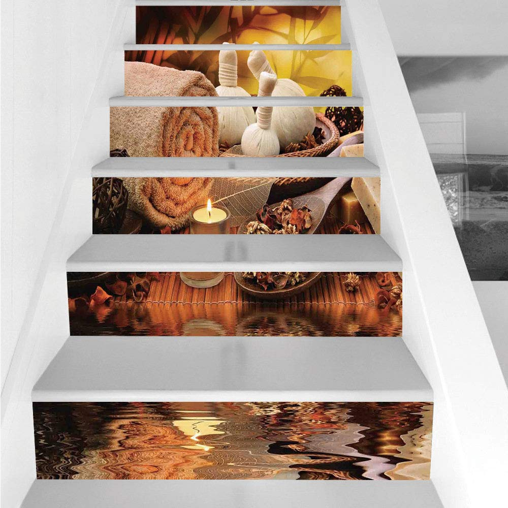 Stair Stickers Wall Stickers,6 PCS Self-Adhesive,Spa Decor,Outdoor Spa Massage Setting at Sunset with Candlelight Reflections Culture,Stair Riser Decal for Living Room, Hall, Kids Room Decor