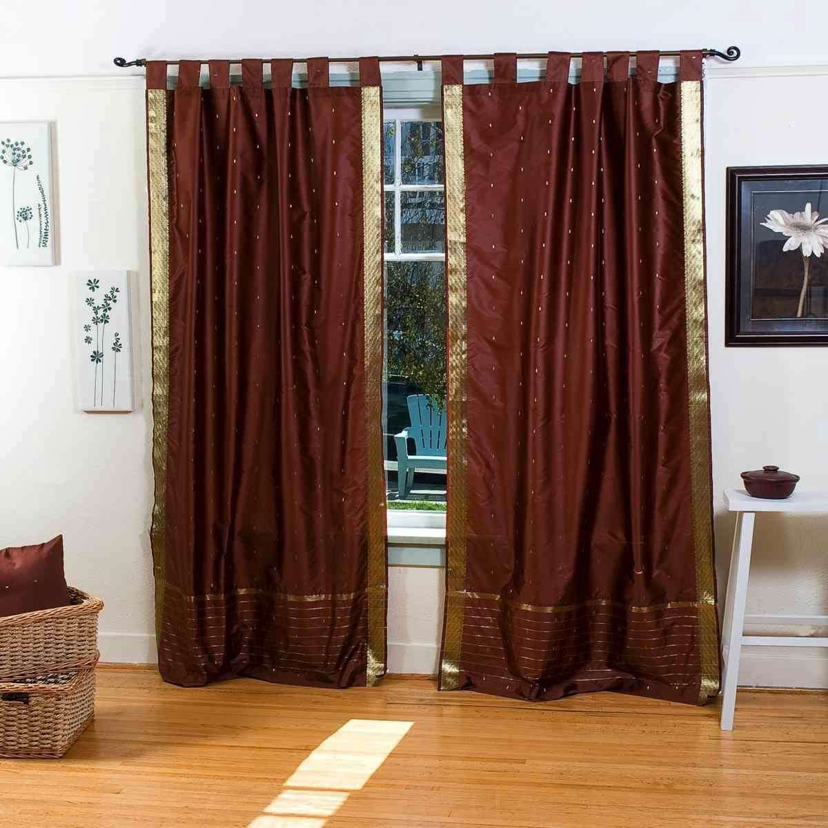 Indian Selections Lined-Brown Tab Top Sheer Sari Curtain Drape Panel – 80W x 120L – Piece