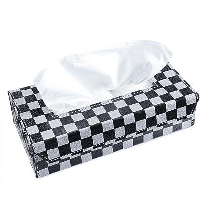 Ecoleatherette Handcrafted Eco-Friendly Napkin box Paper Tissue Holder box (Check. Design)