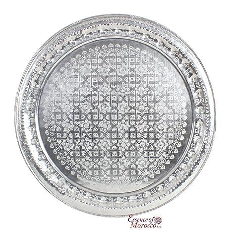 Bandeja de aluminio marroquí mesa Top Nuevo hecho a mano grabada a ...
