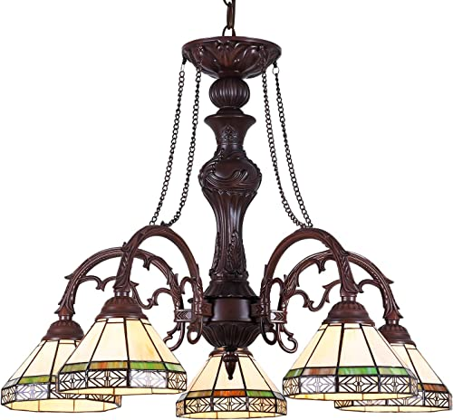 Capulina Handcrafted Tiffany Glass Chandelier, 3 Lights Tiffany Ceiling Light Fixture, Mission Style Lampshade Dinning Room Lighting Fixtures Hanging, Antique Kitchen Lights