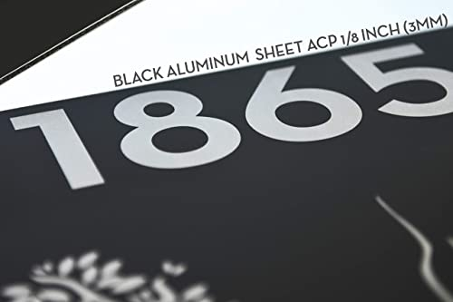 and Silver Fiber Laser Engraved Designs//Fonts- Home Address Wolf Modern House Sign Square with Black Aluminum Plaque ACP