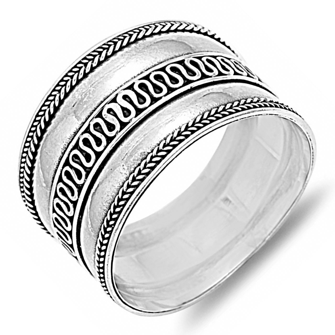 """NEW FASHION /""""BALI/"""" DESIGNS STERLING SILVER RINGS SIZES 5-12"""
