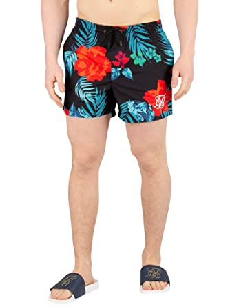dc5542f0bd SIK SILK Men's Standard Hazy Daze Swim Shorts, Black | Amazon.com