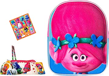 Super Trolls Set – Poppy 3D Niños Mochila Kita Funda Aprox. 25 x 31 x 10 cm + 6 Piezas Trolls Estuche + 12 Trolls Pegatinas: Amazon.es: Equipaje