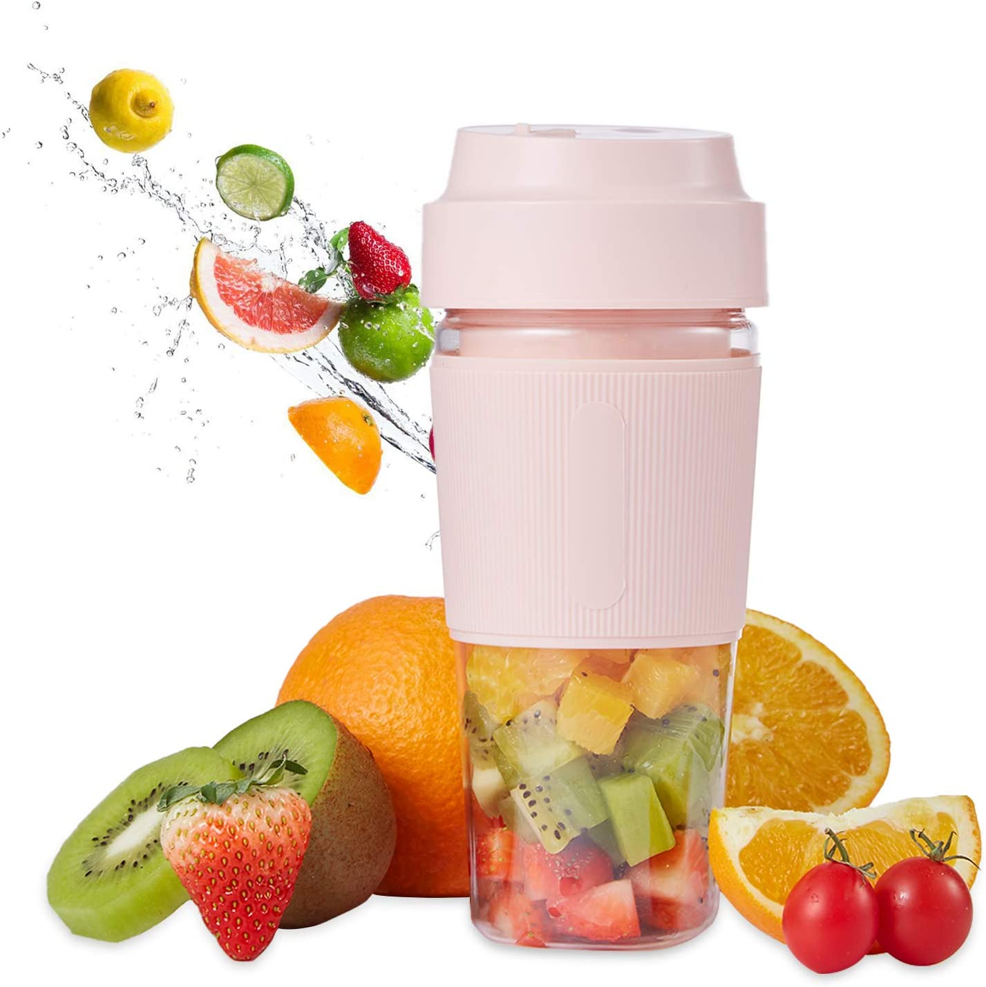 Portable Blender,Mini Personal Mixer Fruit Rechargeable with USB,Personal Size Blender for Smoothie,Juice Cup with Four Blades for Superb Mixing (Pink)