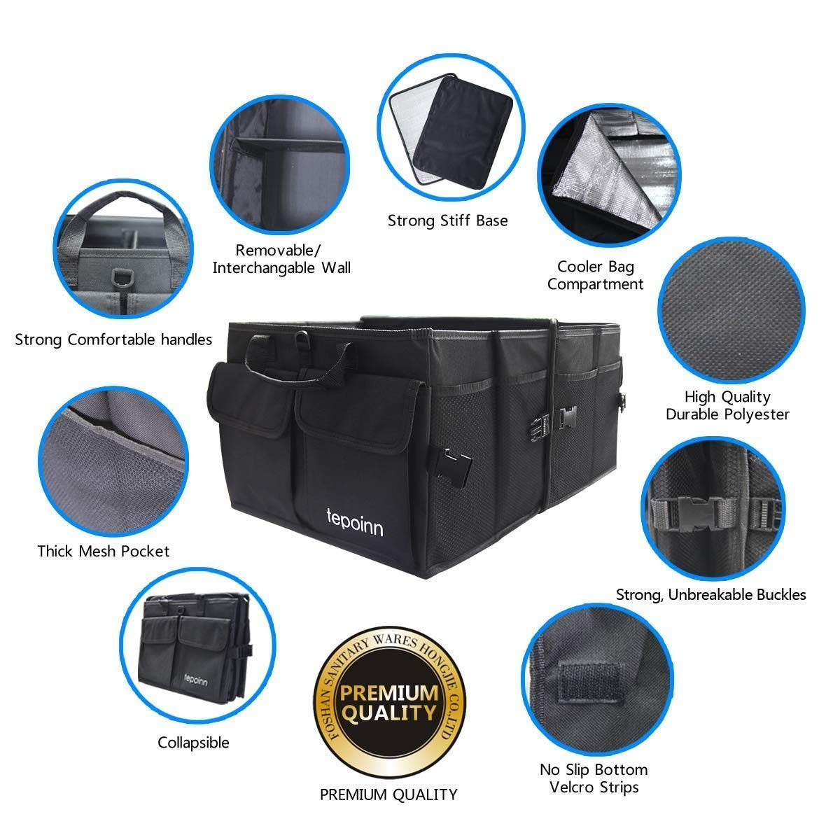 Tepoinn Car Trunk Storage with Cooler Compartment Collapsible Portable Car Storage Organiser with Non Slip Bottom Strips Perfect for Any Vehicle