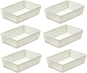 YBM HOME 6-Pack Plastic Storage Baskets Bins for Home Junk Drawer, Shelves, and Office Organization, Functional Trays/Containers Great for Kitchen Pantry, Cabinets, Bedrooms, and Bathrooms, White