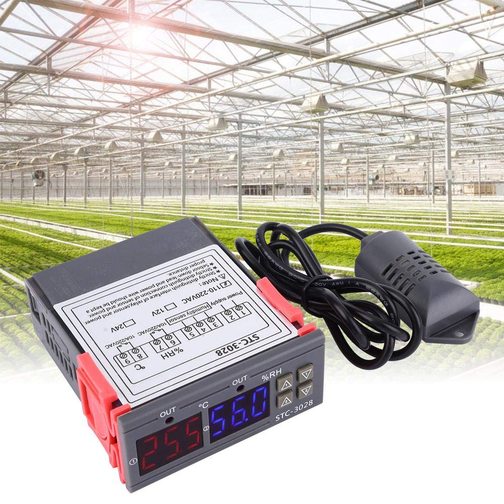 Controlador de temperatura, controlador digital de temperatura y humedad STC-3028, termostato inteligente de pantalla dual y pantalla dual, 12V / 24V / 110V - 220VAC opcional(110V - 220VAC)