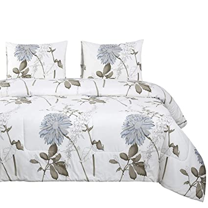 bbf9f0ed7 Wake In Cloud - Floral Quilt Set, Botanical Floral Flowers Pattern Printed,  100%