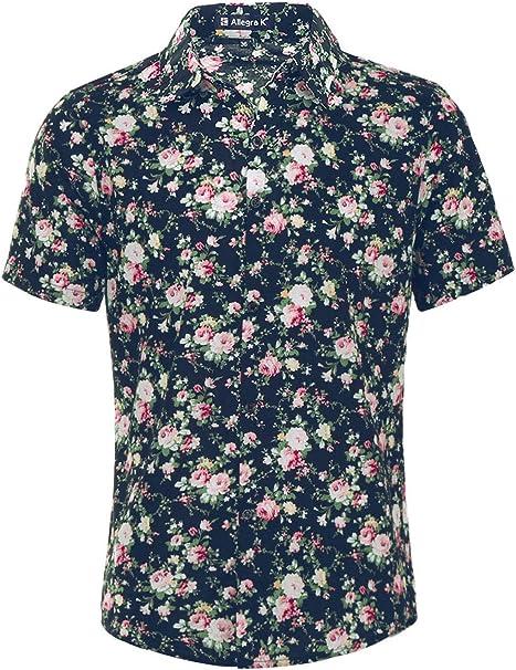 X-Future Mens Button Down Fashion Short Sleeve Floral Print Beach Shirts