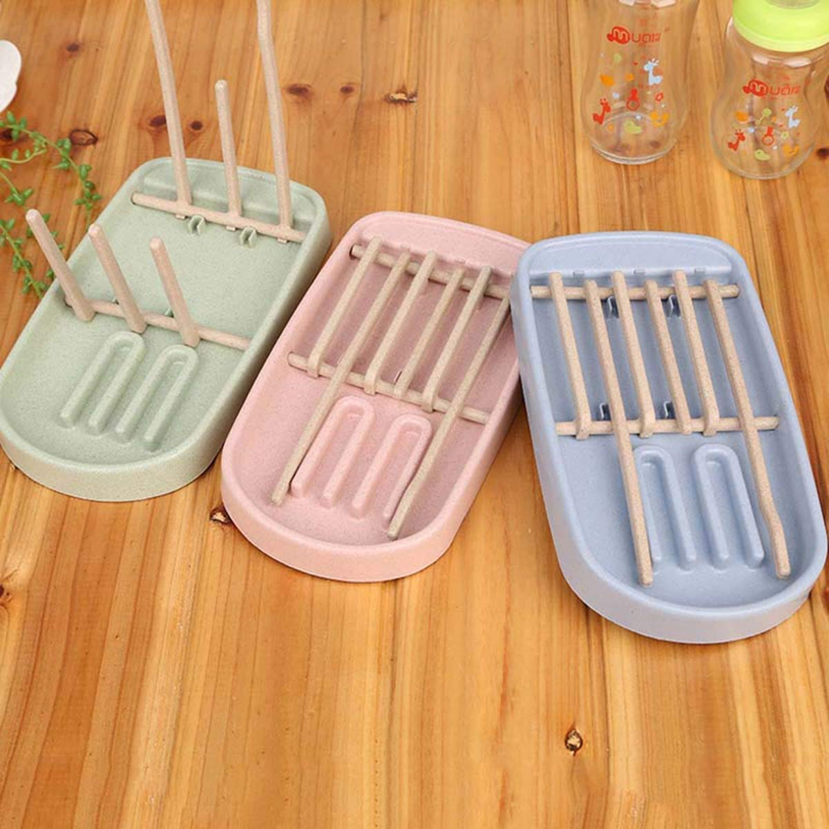 Color : Blue Tianhaik Baby Bottle Drying Rack Stand Holder Feeding Bottle Cleaning Cup Nipple Foldable Shelf Drying for Bottles Drainer Countertop Drying Rack