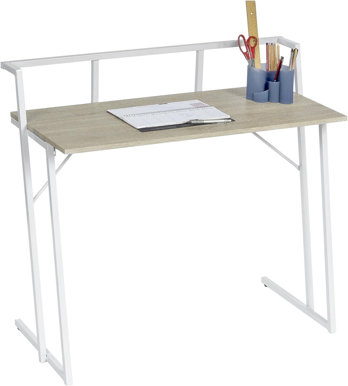 ts-ideen Scrivania Desktop PC Computer Tavolo Fibra di Legno Aspetto di Cornice Telaio Bianco