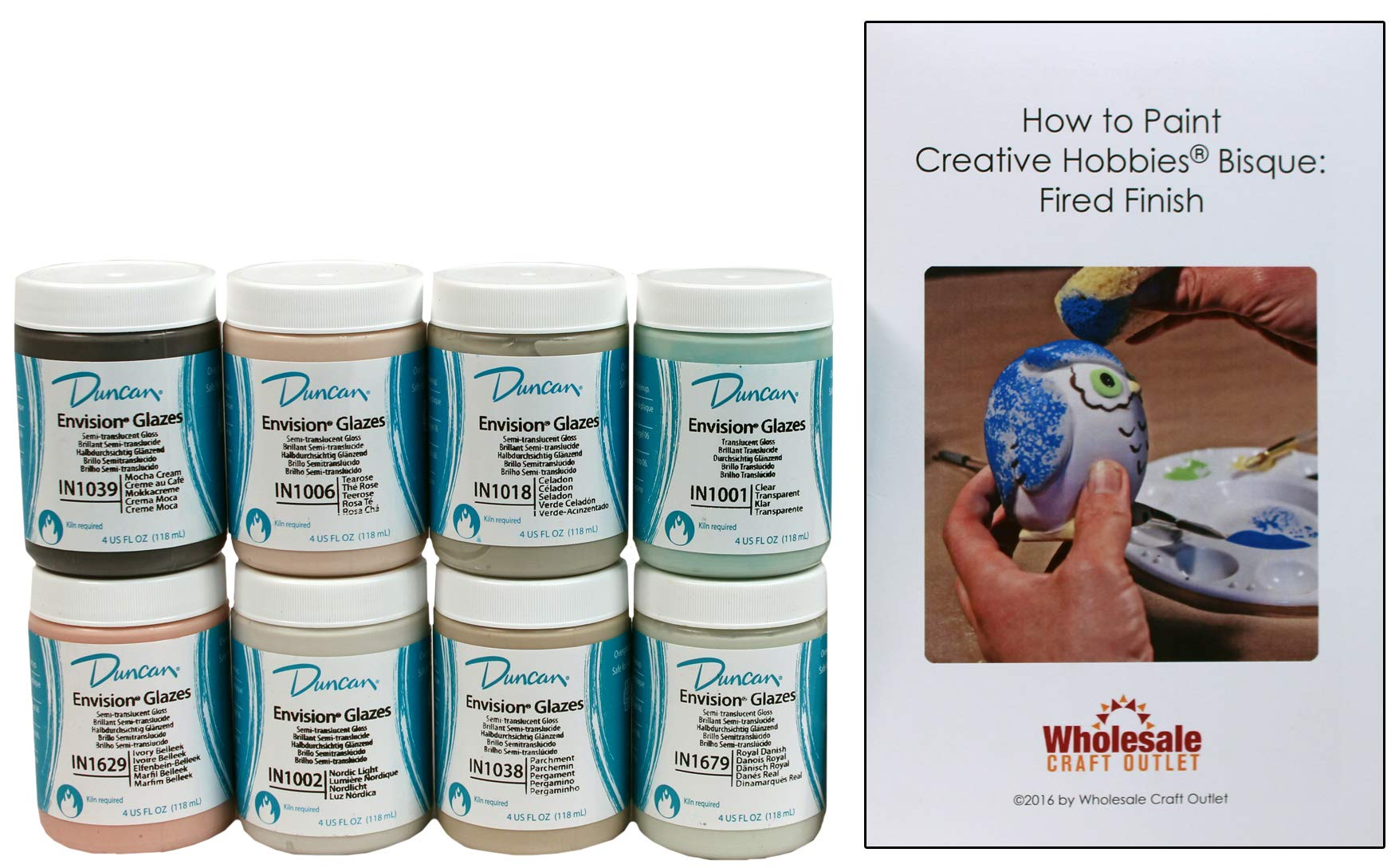 Duncan INKIT-4 Envision Celadons Glaze Kit for Ceramics - Set of 8 Best Selling Colors in 4 Ounce Jars with Free How to Paint Ceramics Booklet