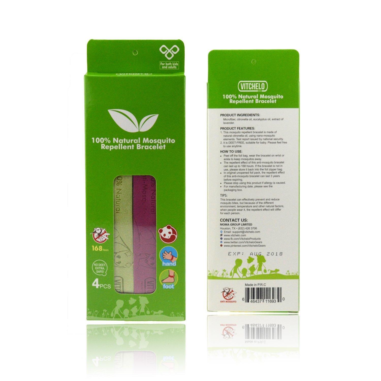 Vitchelo - Pulsera repelente de mosquitos. Pulsera repelente a mosquitos de citronela, no tóxica, sin DEET. Pulsera antimosquitos adecuada para niños y ...