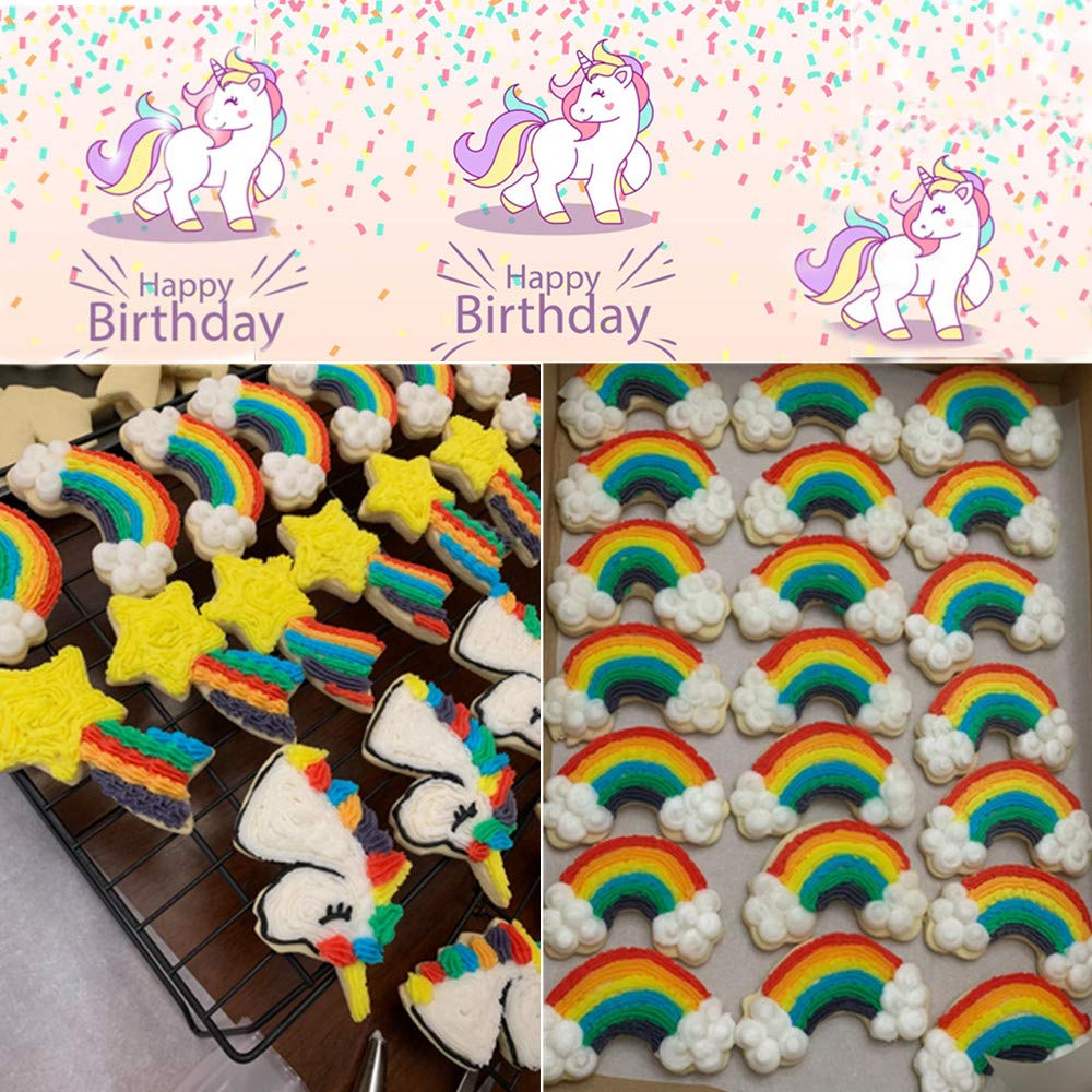 Unicorn,Unicorn Head,Rainbow,Shooting Star and Star,Stainless Steel Cookie Molds for Kitchen Handmade Biscuit Baking Tools 5 Pcs Jasonsy Unicorn Cookie Cutters Set