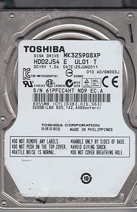 MK3259GSXP A0//GN003J Toshiba 320GB SATA 2.5 Hard Drive HDD2J54 E UL01 T