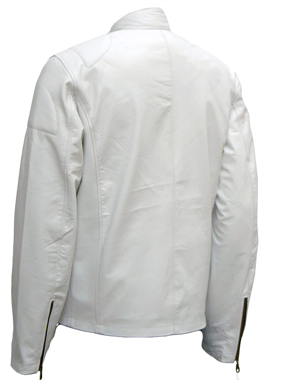 Trim Menswear White Leather Biker Jacket for Men