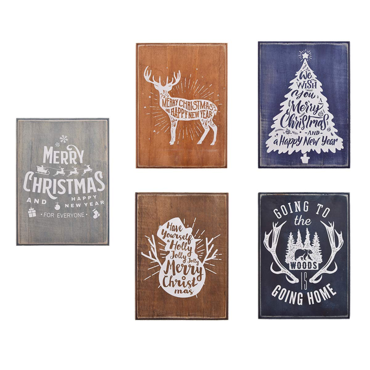 YeulionCraft Christmas Theme Home Decoratio Self-Adhesive Silk Screen Printing Stencil Mesh Transfers with Five Decorative Wood Plank for DIY T-Shirt Pillow Fabric Painting Paper Decoration Wall Decor