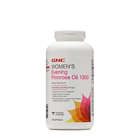 GNC Womens Evening Primrose Oil 1300mg, 180 Softgels, Helps Maintain Smooth, Healthy Looking Skin