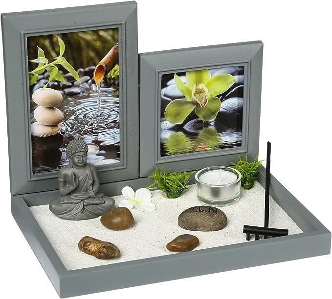 Conjunto de Jardín ZEN con Buda sobre una bandeja con marcos de fotos, soporte para velita, arena blanca, piedras, un rastrillo, etc.: Amazon.es: Hogar