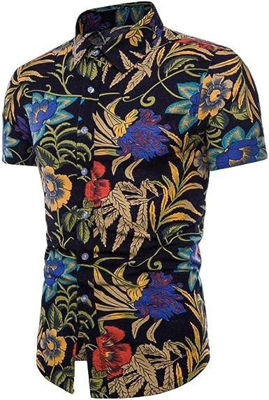 Cinnamou Camisa Hombre, Camisetas Casuales de Estampada Flore de Tallas Grandes Verano Camiseta de Manga Corta de algodón niños Tees Tops Blusa Deportivas (2XL): Amazon.es: Ropa y accesorios