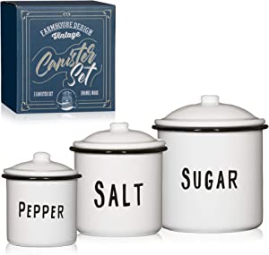 White Enamelware Vintage Farmhouse Decor Canister Set With Lids For Countertop Or Pantry. Labelled For Salt, Pepper And Sugar.