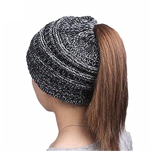 c5b4c599ae068 Wholesale Women's Beanie Tail Hats Ponytail Beanie Hats Soft Stretch Cable  Knit Messy High Bun Knit