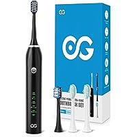 Elektrische tandenborstel, sonische tandenborstel aanbevolen door tandartsen, roestvrijstalen middenschacht 40000 VPM, 5…