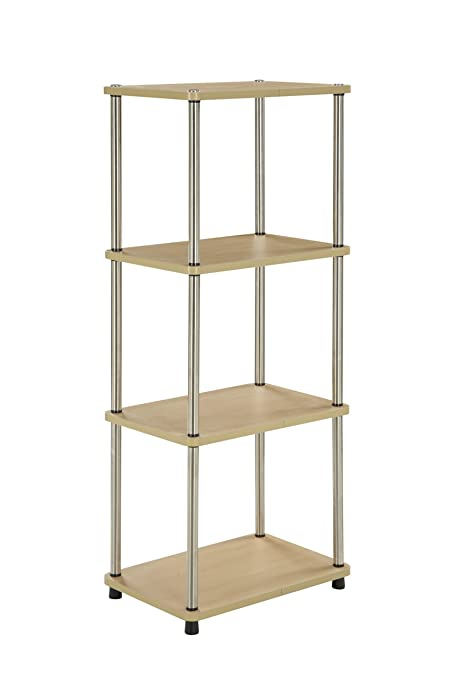 Convenience Concepts Designs2Go 4 Tier Bookshelf Media Tower Natural