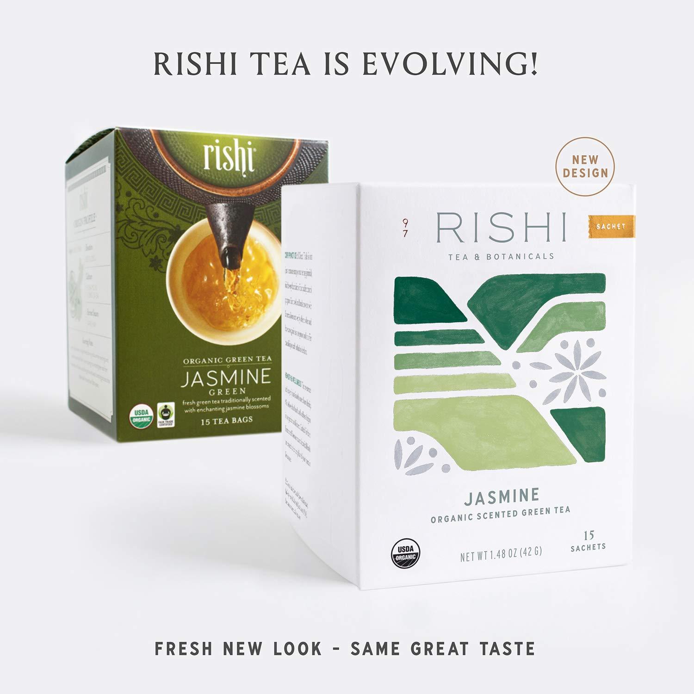 Rishi Tea Jasmine Green Herbal Tea   Immune Support, USDA Certified Organic, Fair Trade Green Tea, Caffeinated, Floral Aroma & Taste   15 Sachet Bags