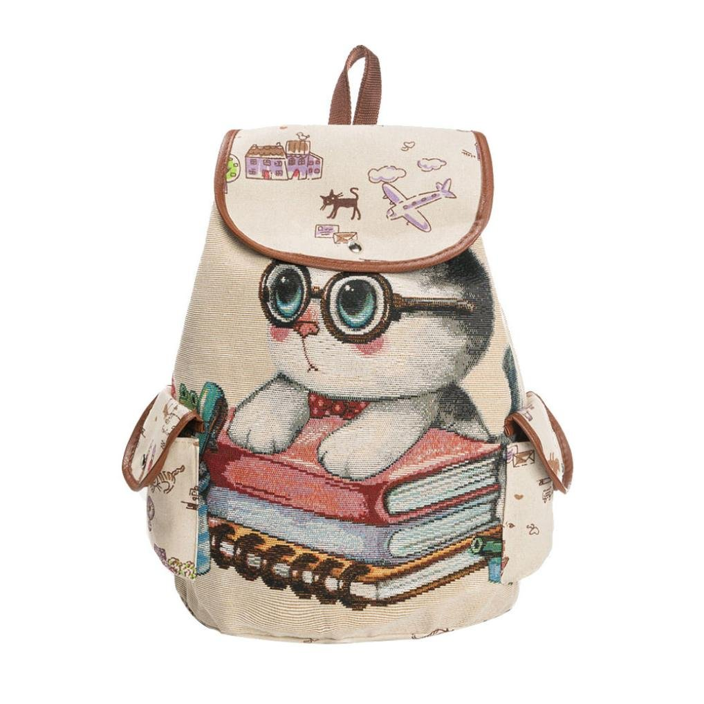 Women's canvas shoulder bag cute Cat love printed,jacquard embroidered backpack,GINELO (C)