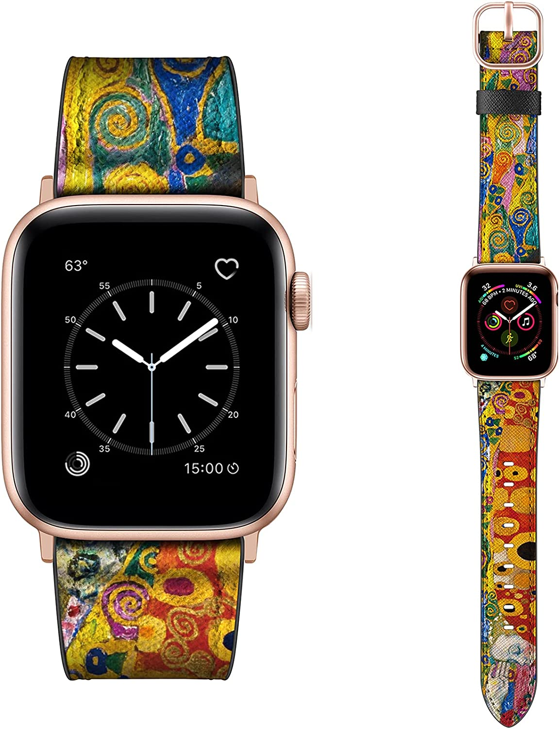 Dilando Leather Band Compatible with Apple Watch Series 6 44mm 42mm Genuine Leather Vintage Replacement Strap Classic Bracelet Buckle for iWatch SE 6 5 4 3 2 1 Women Men Orange 44mm 42mm