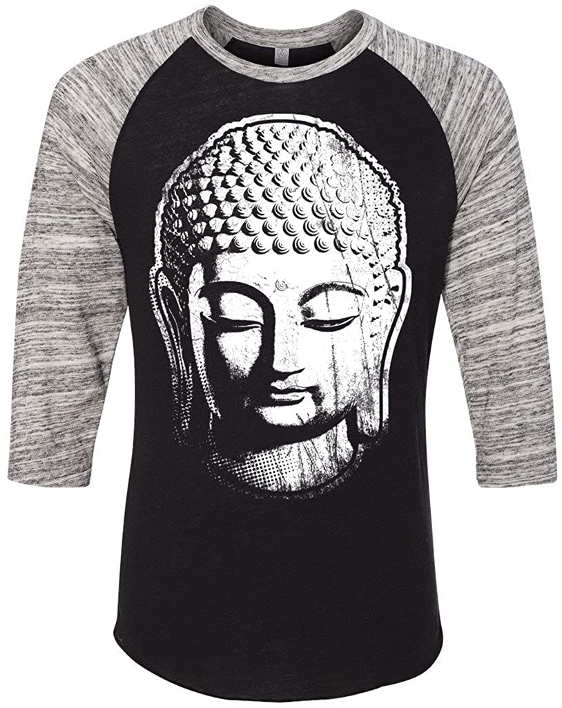 Yoga Clothing For You Mens Buddha Head 3/4 Sleeve Tee 2089e1-BIGBUDD