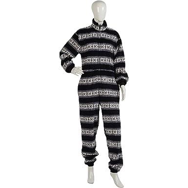 Amazon.com: Ladies Footless Fairisle Onesie Womens Soft Fleece Zip ...