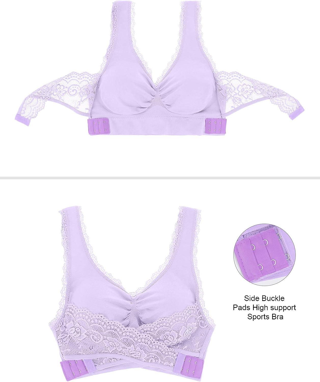 3 Pieces Lace Sport Bras Adjustable Side Bra Front Cross Bras for Women Girls