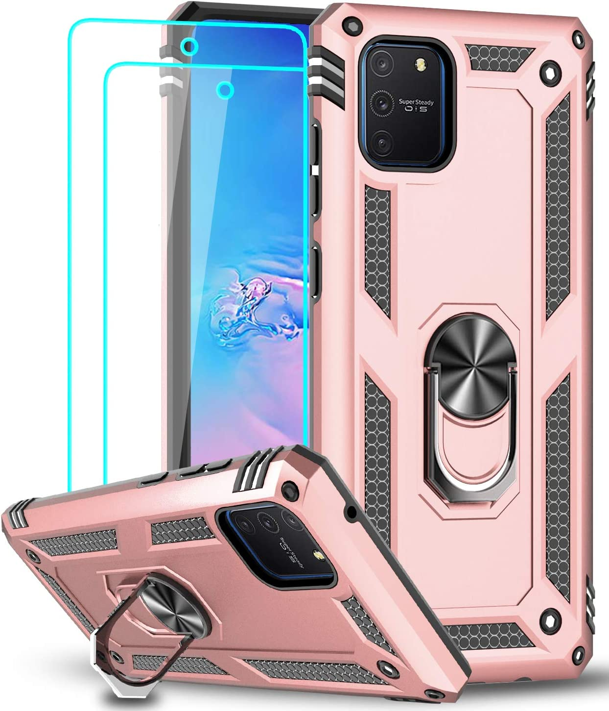 LeYi Funda Samsung Galaxy S10 Lite / A91 con [2-Unidades] Cristal Vidrio Templado,Armor Carcasa con 360 Grados Anillo iman Soporte Hard PC Silicona TPU Bumper Antigolpes Case para Movil A91,Oro Rosa