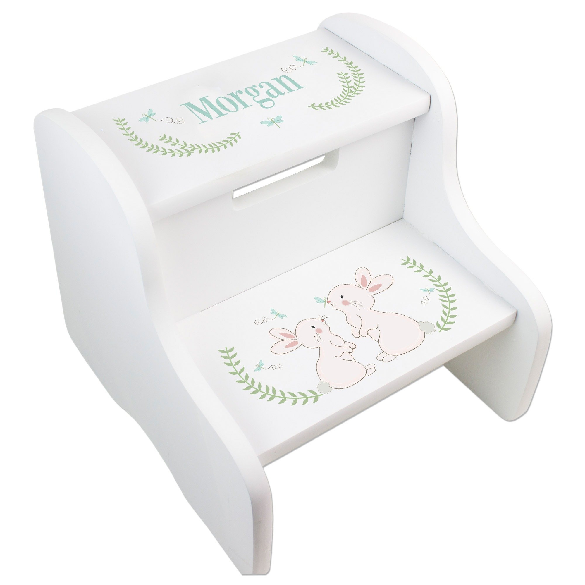 MyBambino Personalized Classic Bunny White Two Step Stool