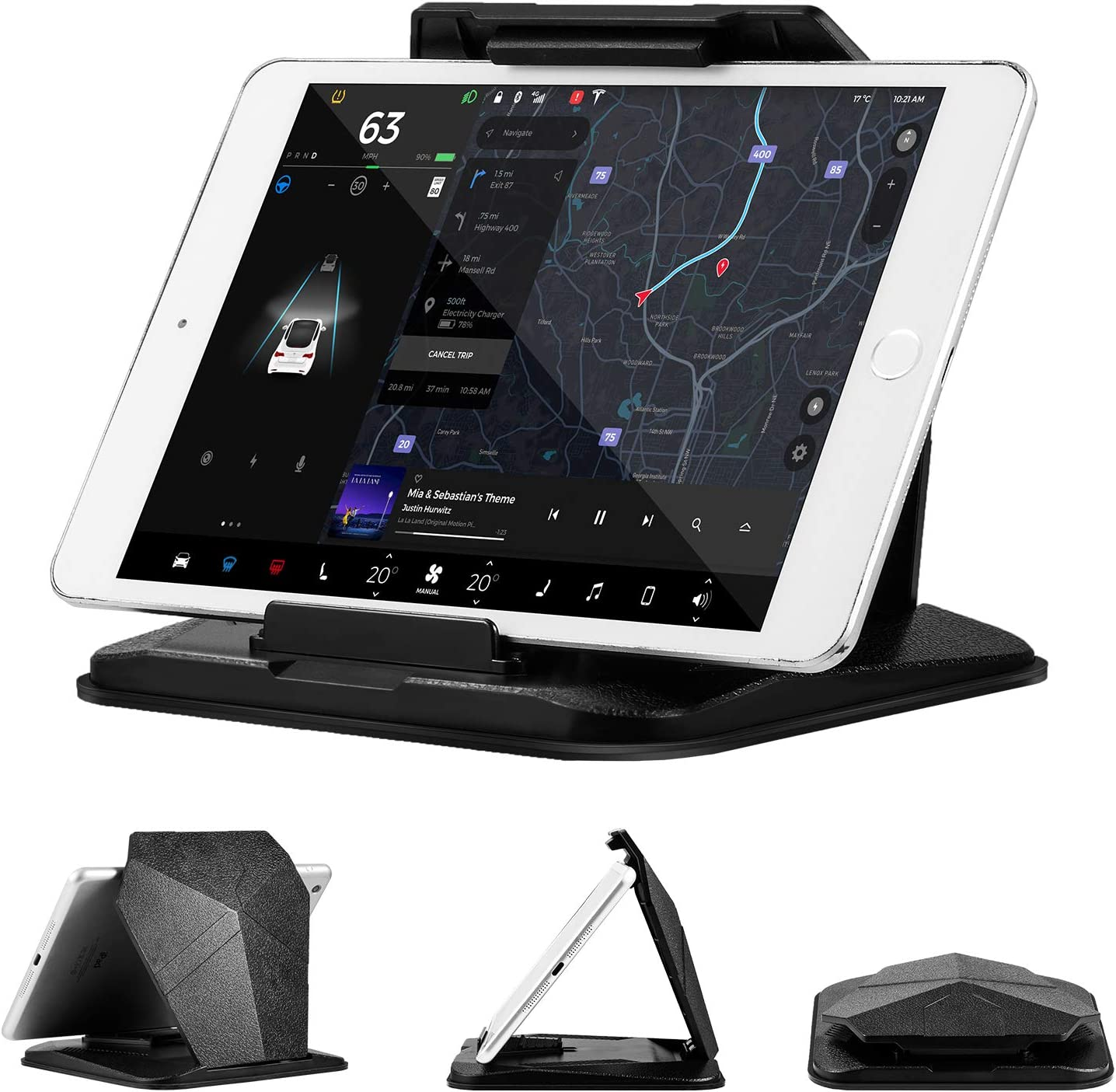 2-in-1 Car Cradles Dashboard Tablets Stand Phone Mount Compatible with ipad Pro//Air//Mini//Galaxy Tab//iPhone X//XS//XS Max Smartphones//GPS Fits Up to 9.6inch Device suily Tablet Holder for Car
