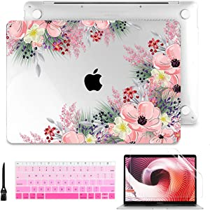 Laptop Case for MacBook Air 13 2020 2019 2018 with Touch ID & Retina Display Floral Series Hard Shell with Keyboard Cover Screen Protector for New Mac Air 13.3 inch A2179 A1932, Beautiful Floral