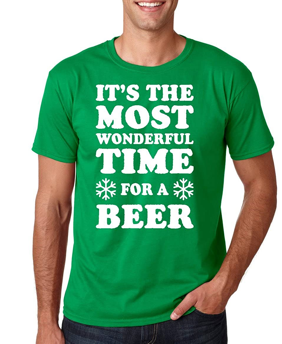 46160b0b7 Amazon.com: Funnwear It's The Most Wonderful Time for A Beer, Funny Parody  Christmas Novelty Premium Men's T-Shirt: Clothing