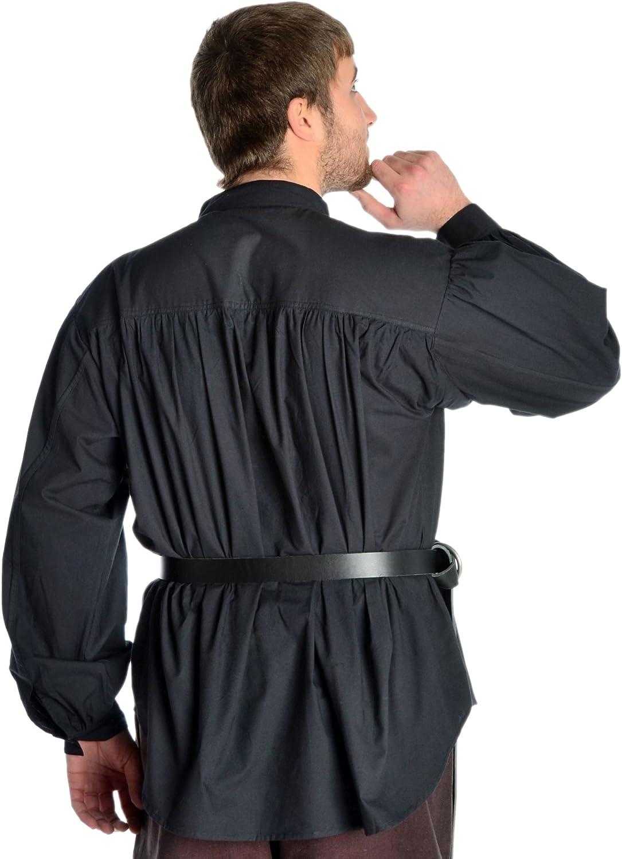 HEMAD Camicia medievale da uomo pirata cotone leggero pizzo frontale Collo alto S-XXXL Bianco e Nero