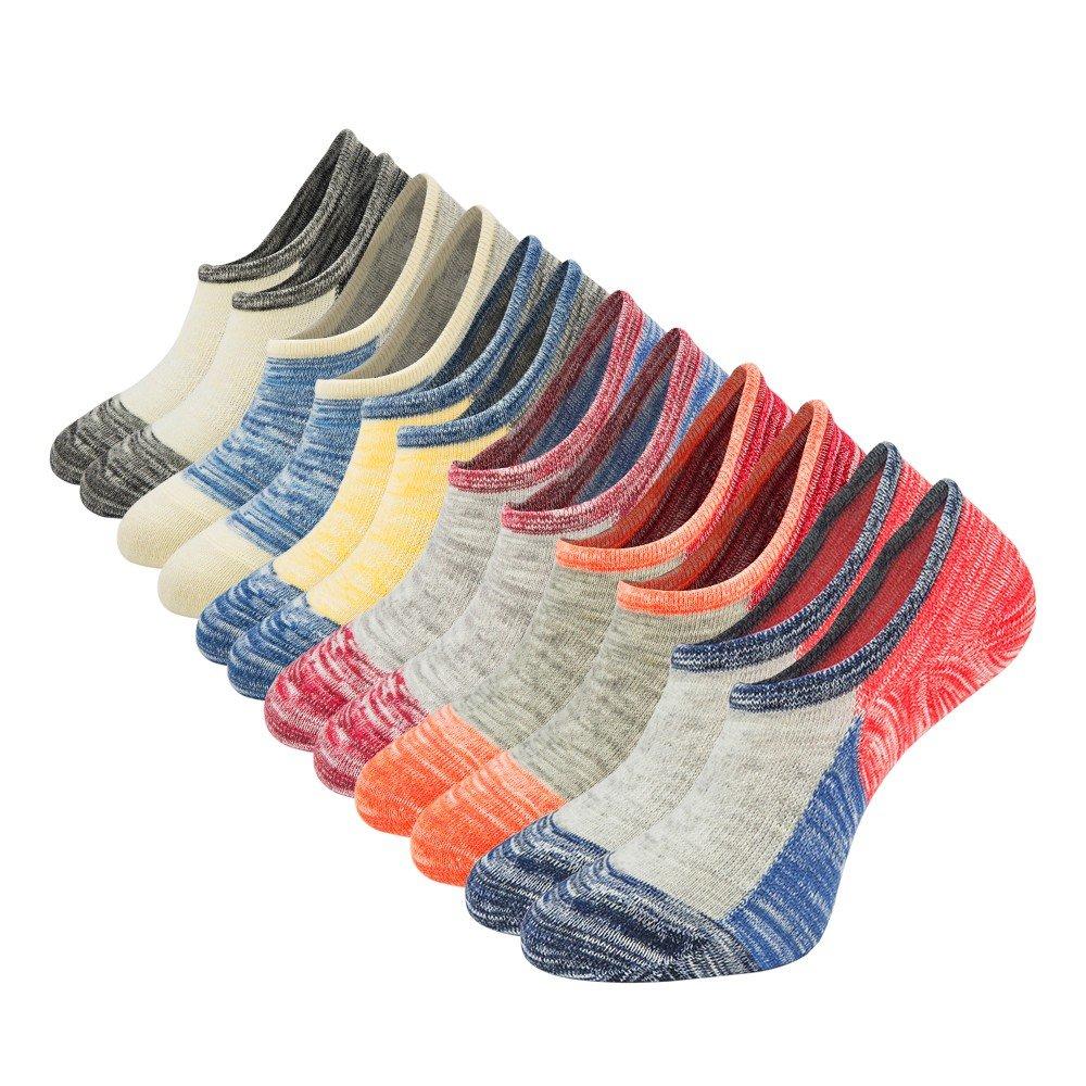 Womens No Show Low Cut Socks 6Pack Vintage Color Block Casual Ankle Cotton Socks Non Slip Shoe Liner