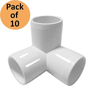 SELLERS360 3Way 3/4 inch PVC Fitting Elbow - Build Heavy Duty PVC Furniture - PVC three quarter Elbow Fittings [Pack of 10]