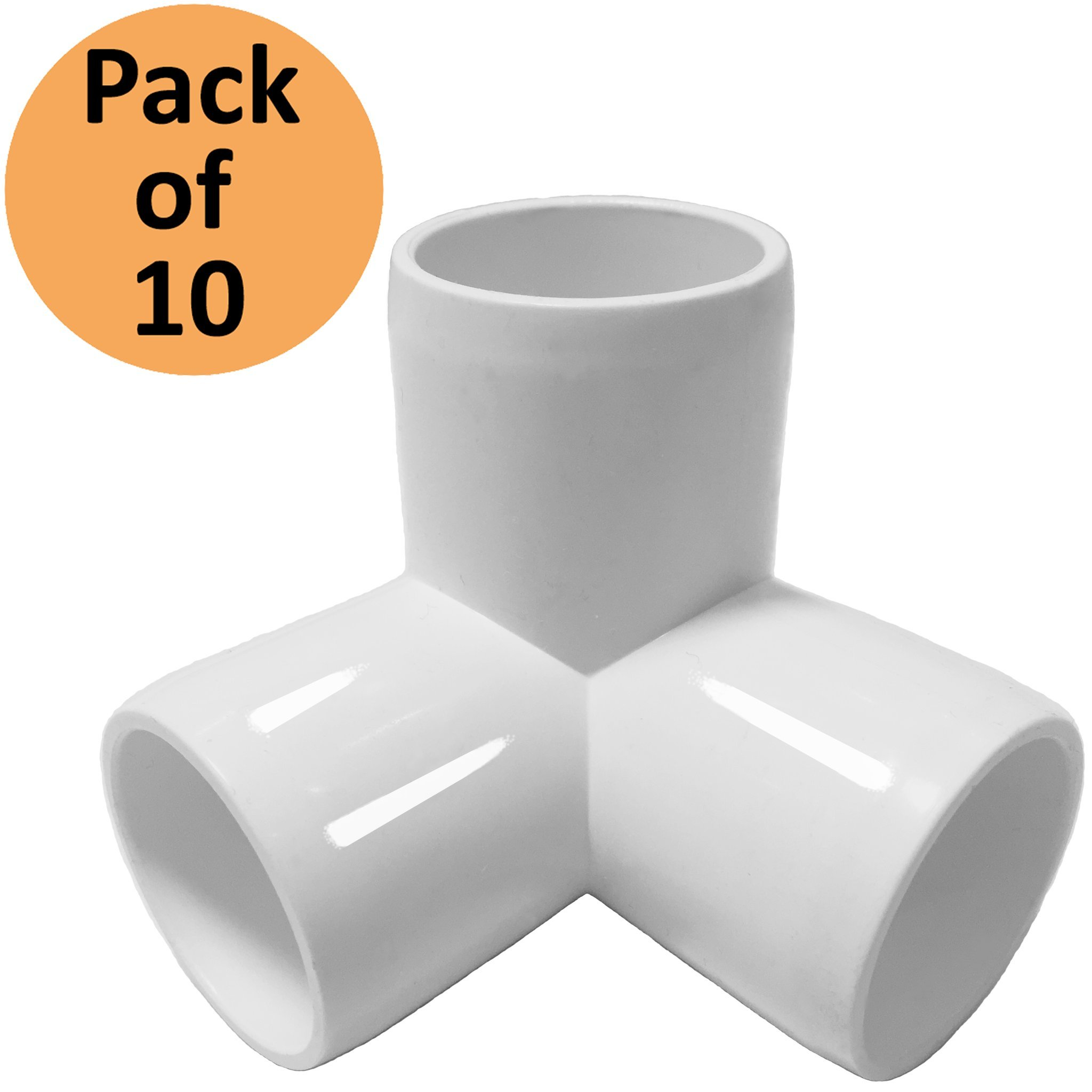 3Way 1 inch PVC Fitting Elbow - Build Heavy Duty PVC Furniture - PVC Elbow Fittings [Pack of 10]