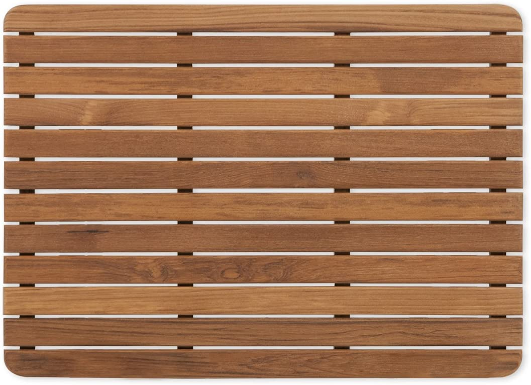 Plantation Teak Bath Mat with Rounded Corners 25 x 18