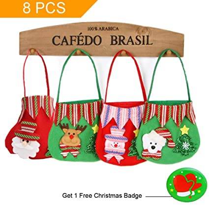 shindel bags 8 pcs christmas candy bags christmas hand bags christmas treat bags gift wrapping
