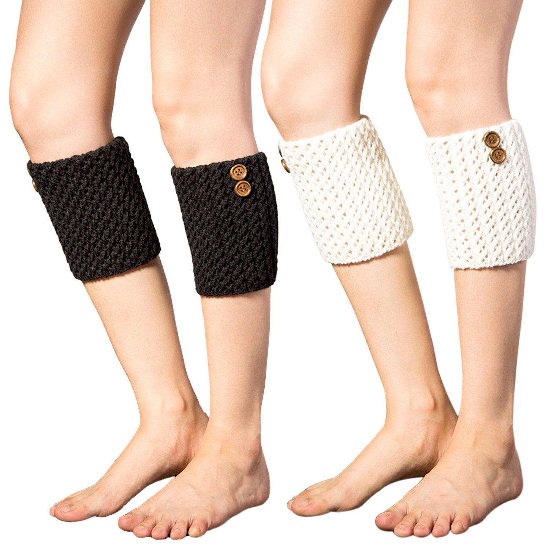 2 Pairs Womens Winter Crochet Boot Cuffs Knitted Boot Cuffs Toppers Short Leg Warmer