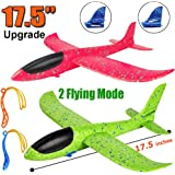 "2 Pack Airplane Toys, Upgrade 17.5"" Large Throwing Foam Plane, 2 Flight Mode Glider Plane, Flying Toy for Kids, Gifts for 3 4 5 6 7 Year Old Boy, Outdoor Sport Toys Birthday Party Favors Foam Airplane"